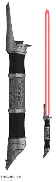 My first Sith lightsaber. Inspiration: Witchking's helmet (Lord of The Rings). I must say that this one was really hard to make Lightsaber Sith Lightsaber, Lightsaber Design, Custom Lightsaber, Star Wars Rpg, Star Wars Jedi, Star Wars Rebels, Star Trek, Sabre Laser, Westerns