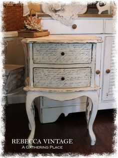 Charming Night Stand with vintage French Script on the drawers... From REBECCA VINTAGE - A Gathering Place