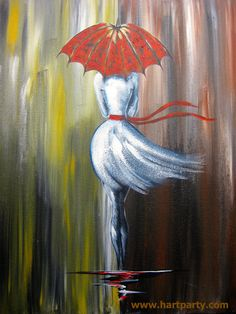 Walk in The Rain by Cinnamon Cooney fully guided as the art sherpa. a girl in a white dress walks in the rain under a red Umbrella 16x20 Live april 3rd  2015 https://www.youtube.com/user/HoneyBmama