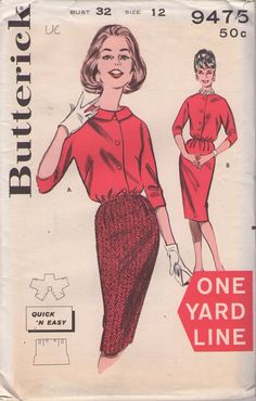 Butterick 9475 Vintage 60's Sewing Pattern DARLING Rockabilly Mad Men One Yard Line 1 Yd Quick & Easy Blouson Blouse, Sheath Skirt, 2 Piece Dress #MOMSPatterns