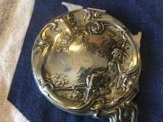 9.5in Art Nouveau Sterling Silver Hand Mirror Repousse French Style Lady n Cat #ArtNouveau #FosterBailey