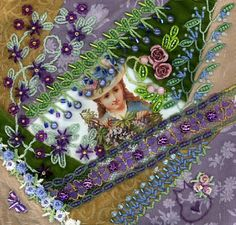 I ❤ crazy quilting, beading  embroidery . . .  Garden Girl 3 Complete ~By Kitty and Me