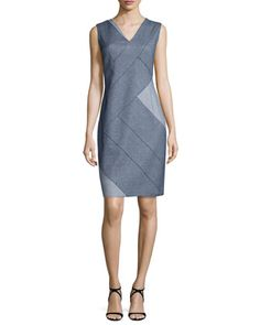 Judith Sleeveless Patch Sheath Dress, Indigo by Elie Tahari at Neiman Marcus.