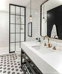 Jorie Martin saved to home Awesome Black And White Subway Tiles Bathroom Design Creative Industrial Bathroom Renovation Ideas To Nail Your Home Bathroom Tile Designs, Bathroom Renos, Basement Bathroom, Small Bathroom, Tiled Bathrooms, Bathroom Layout, Budget Bathroom, Bathroom Black, Bathroom Mirrors