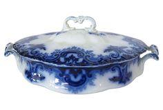 Antique Flow Blue Covered Vegetable Dish on OneKingsLane.com
