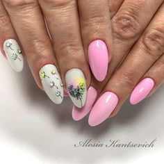 No name Gel Nail Art, Nail Manicure, Spring Nails, Summer Nails, Acrylic Nail Designs, Nail Art Designs, Gel Nagel Design, Almond Acrylic Nails, Cat Nails