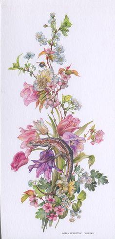 watercolors paintings of olga Ionaytis - Art Floral, Floral Watercolor, Botanical Flowers, Botanical Prints, Flower Prints, Flower Art, Floral Illustrations, Illustration Art, Painting & Drawing