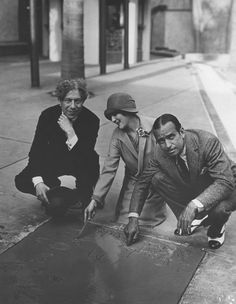 Mary Pickford & Douglas Fairbanks at their hand and footprint ceremony at Grauman's Chinese Theater