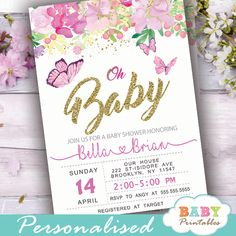 Pink flowers and butterflies baby shower invitations to celebrate the upcoming birth of a new girl in a mix of light and bright spring colors. The Butterflies Baby Shower Invitations feature a beautiful arrangement of hand painted spring flowers in watercolor with fluttering butterflies in pink accents against a white backdrop incorporating faux gold glitter. #butterfly #babyshowerideas #butterflytheme #babyshowerinvitations