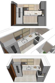 Kitchen Island Decor, Kitchen Room Design, Modern Kitchen Design, Kitchen Interior, Micro Kitchen, Small Kitchen Storage, Kitchen Cabinet Dimensions, Home Office Setup, Saint Martin