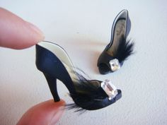 Miniature High Heel Shoes  Handmade from Polymer Clay by YinyingO, $38.00 Not 1:12 scale