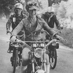Brigitte Bardot on a motorcycle, 1971.