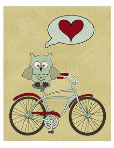 Owl Love You Forever (Retro Bike Love)  8 x 10 Digital Print via Etsy