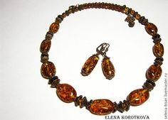Купить Бусы, серьги Янтарь солнечный коричневый натуральные камни - бусы из камней