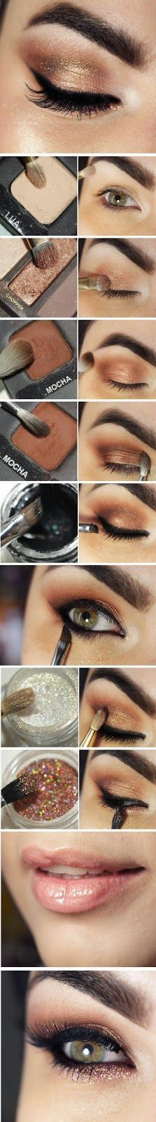 Stunning rose gold smokey eye makeup with shimmer tutorial