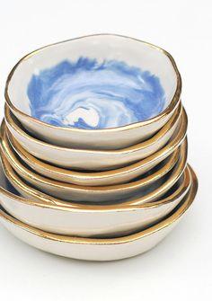 Day Dreamer Gold Rimmed Ceramic Bowl | Etsy