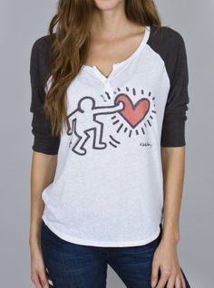 Keith Haring Color Block Henley by Junk Food Clothing #JunkFoodTees #ValentinesDay #BeMine