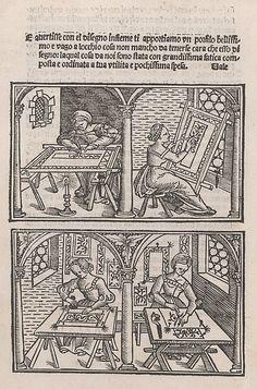 Libro quarto. De rechami per elquale se impara in diuersi modi lordine e il modo de recamare...Opera noua Publisher: Alessandro Paganino (Italian, active Salò, Toscolano and Venice, 1511–38) Date: ca. 1532 Medium: Woodcut Dimensions: Overall: 8 3/8 x 5 7/8 x 3/16 in. (21.2 x 14.9 x 0.5 cm) Classifications: Books, Prints, Ornament & Architecture Credit Line: Harris Brisbane Dick Fund, 1948 Accession Number: 48.40(1-21)