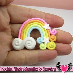 Large Polymer Clay RAINBOW Decoden Clay Cabochon 2 pc 50x36mm