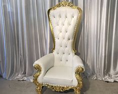 READY TO SHIP! Throne Chair White with Gold Trim