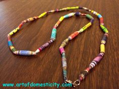 Art of Domesticity: Paper Bead Necklace  #DIY #jewelry #necklace #paper bead #mod podge #bead