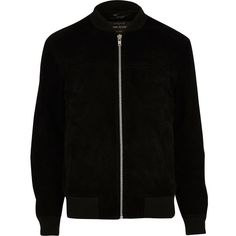 River Island Black suede bomber jacket (£130) ❤ liked on Polyvore featuring men's fashion, men's clothing, men's outerwear, men's jackets, black, mens suede bomber jacket, tall mens jackets, mens suede leather jacket and mens suede jacket