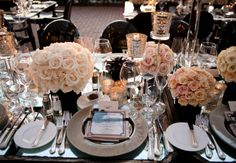 Black, White & Peach Wedding Love ~ Reception ~ Tablesetting #black + #white #silver #wedding #reception #tablescapes #roses #floral #centerpieces #menus @WedFunApps wedfunapps.com ♥' Repinned by #indianweddingsmag #tablescape #black #white #weddings #couples #bride #groom #brideandgroom #summerweddings #aboutindianweddings indianweddingsmag.com