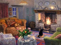 Stephen J. Darbishire - Sunday Evening I would like a living room like this, open fire, cosy with cats.