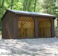 Board & Batten Run-in Shed www. Wood Storage Sheds, Barn Storage, Wood Shed, Storage Ideas, Shed Floor Plans, Shed Plans 12x16, Horse Shed, Horse Barns, Horse Stables