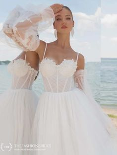 Strekoza 2020 Spring Bridal Collection – The FashionBrides Tulle Wedding Skirt, White Wedding Gowns, Bohemian Wedding Dresses, Wedding Dress Sleeves, Long Wedding Dresses, Ivory Wedding, Bridal Dresses, Dresses With Sleeves, Lace Top Dress