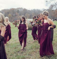 Bridesmaids in wine color theme