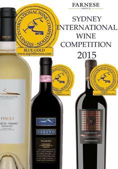 SIDNEY INTERNATIONAL WINE COMPETITION 2015 results: - PIPOLI GRECO-FIANO BASILICATA IGP: Top 100 Blue Gold  Award Winner. - VESEVO TAURASI DOCG: Gold Award Winner. - VIGNE VECCHIE PRIMITIVO DI MANDURIA DOP: Gold Award Winner. #Farnesevini, #vino, #wine, #vin, #vinoitaliano, #italianwine, #vinitalien, #Farnese, #vinilucani, #winelover, #vignetidelvulture, #vignetidelsalento, #vesevo, #primitivo, #primitivodimanduria, #taurasi, #pipoli