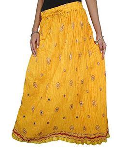 Womens Indian Long Skirt Yellow Crincle Summer Maxi Skirt... http://www.amazon.com/dp/B00QGJDJX4/ref=cm_sw_r_pi_dp_7-Upxb1V316QA