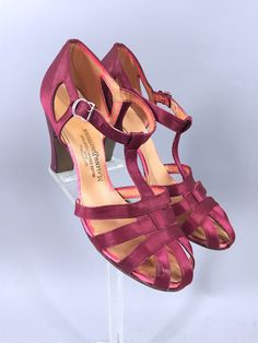 Vintage 1930s Shoes / Maling Brother's T-Strap Satin Dancing Heels
