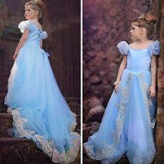 Maedchen-Cinderella-Tuell-Bodenlang-Blumenmaedchen-Abendkleid-Cosplay-Partykleid