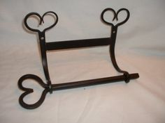 Wrought Iron Toilet Paper Holder Heart -2 Part