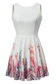 Hot Sale White Floral Print Sleeveless Skater Dress