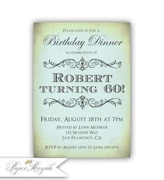 Adult Birthday Invitations Dinner 60th Or Any Age Printable Printed Invites 50th 70th 80th 90th