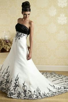 black and white wedding dresses | Buy cheap Black And White A Line Handmade Embroidery Strapless Bodice ...