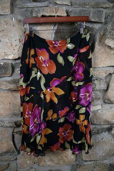 NEW Jones New York Size 10 Womens Silk Skirt Black Multicolor Floral 100% Silk  #JonesNewYork #Asymmetrical