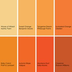 Some of my favorite oranges (clockwise from top left):  1. Waves of Wheat 095-4, from Mythic Paint 2. Sweet Orange 2017-40 from Benjamin Moore 3. Tangerine Dream 123-7, from Pittsburgh Paints 4. Sunbaked Orange GLO08, from Glidden 5. Baby Carrot 8-11, from Pratt & Lambert 6. Autumn Blaze 2002-1A, from Valspar 7. Montana Dust AC212-5, from Kelly-Moore 8. Cayenne SW6881, from Sherwin-Williams