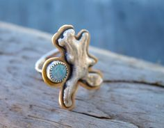Molten Coral and Australian Opal Mixed Metal Ring // Part of The Molten Coral Collection™ by MermaidByHand on Etsy https://www.etsy.com/listing/217317191/molten-coral-and-australian-opal-mixed