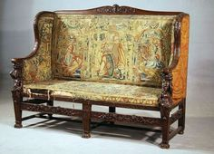 18th Century French Renaissance Tapestry Sette Is Made From Walnut Wood,and  Has Hand Made