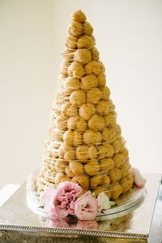 Wedding Food Croquembouche tower from Fancy That Wedding Cakes - Unconventional wedding cakes Unconventional Wedding Cake, Nontraditional Wedding, Wedding Reception Food, Wedding Desserts, Wedding Ceremonies, Wedding Favors, Wedding Venues, Wedding Invitations, French Wedding Cakes