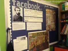 """facebook"" for an artist bulletin board... I would love to do this with famous scientists in my science classroom!!"