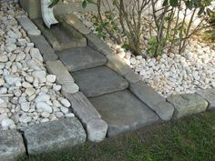 """Front Yard Garden Design Decorative Splash Blocks For Downspouts - For today, I have a very interesting post that is called Amazing Ideas - Dry Creek Beds for Landscaping """". Are you excited? Diy Herb Garden, Lawn And Garden, Rain Garden, Garden Planters, Garden Bed, Gutter Garden, Balcony Garden, Outdoor Projects, Garden Projects"""