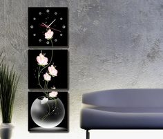 3195 handpainted 3 piece black with white oil painting on canvas wall art flower clock for living room as unique gift $45.00