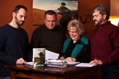 Author Janet Chester Bly and her three sons finishing award-winning wester author Stephen Bly's last novel, Stuart Brannon's Final Shot / Bly Books