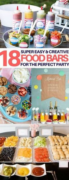 Wow I love food bars and these are the most creative ones Ive seen graduation party food ideas wedding food ideas party food ideas bridal shower food baby shower food kid. Party Food Bars, Snacks Für Party, Bbq Party, Party Appetizers, Brunch Party, Party Drinks, Party Food Themes, Birthday Brunch, Bbq Drinks