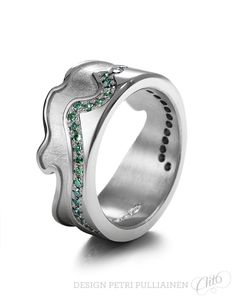 Pd white gold with 43 forest green diamond. Shape inspired by Olympic bow's middle part. Wedding Ring Designs, Wedding Rings, Diamond Rings, Gemstone Rings, Institute Of Design, Green Diamond, My Rock, Helsinki, Petra